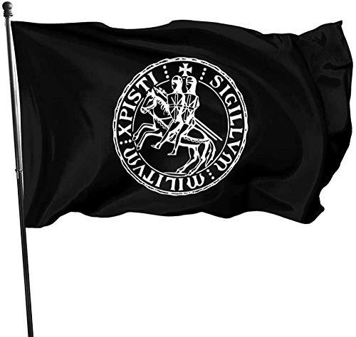 Señal de Bandera de jardín Fiesta al Aire Libre Bandera de Interior Impermeable Cerca del Patio Césped Divertido y novedoso 5 * 3 pies, Caballeros Templarios Sello Bandera Cristiana católica
