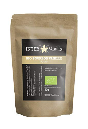 InterVanilla BIO Bourbon Vanillepulver 50g, Vanille gemahlen. Vanillepulver BIO aus echter Bourbon Vanille. Vanilla Powder aus Madagaskar. Gemahlene Vanille ohne Zusätze