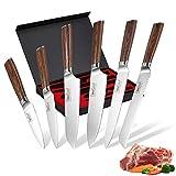 Knife Set, FineTool 6-Piece Professional Kitchen Knives Set with Brown Pakkawood Wood Handle