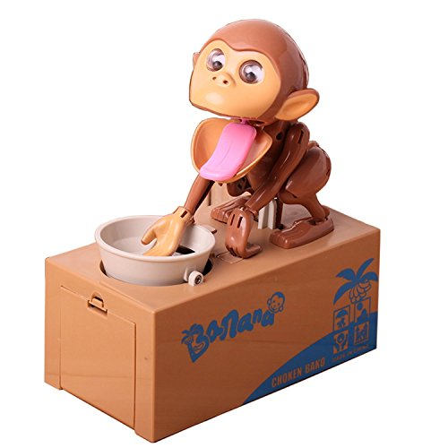 Virtuous Cool Gadgets Monkey Stealing Money Box Coin Bank,Robotic Munching Toys Plastic Piggy Saving Banks Gift for girls & boys or for Kids & Adults (Lucky Coin Monkey )