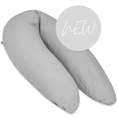 Stillkissen Baby groß mit EPS Mikroperlen Füllung ÖKOTEX zertifiziert * grau Waffelpique* 190cm Seitenschläferkissen xxl fest lang Lagerungskissen Perlenfüllung Kügelchen waschbar