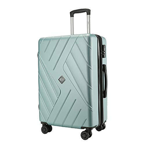 ATX Luggage 24' Suitcase Medium Super Lightweight Durable Expandable ABS Hardshell Hold Trolley Case Hold Check in Travel Bags with 8 Wheels & Built-in Lock (24'/67cm Medium (Expandable), Mint Green)