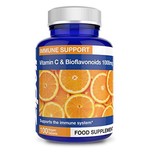 Vitamine C 1000 mg bioflavonoïden, 100 Tablets Draagt bij tot de vermindering van vermoeidheid en vermoeidheid. Vegan. Van Zipvit