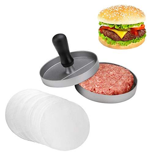 JZK Single Burgerpresse Hamburgerpresse Antihaft Burger Pattie Presse mit 80 Blatt Antihaftpapier zum Grillen Fleisch Grill
