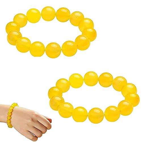 Aoulg 2Pcs Yellow Jasper Body Cleansing Bracelet, Anti-Fatigue Beads for Reiki Healing Crystal Healing Stone, Chakra Yoga Meditation Spiritual Bracelets (8mm)