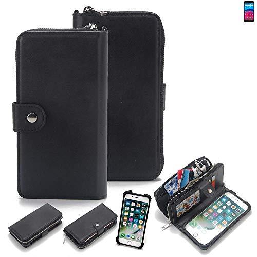 K-S-Trade 2in1 Handyhülle Für Archos Core 55 4G Schutzhülle und Portemonnee Schutzhülle Tasche Handytasche Hülle Etui Geldbörse Wallet Bookstyle Hülle Schwarz (1x)