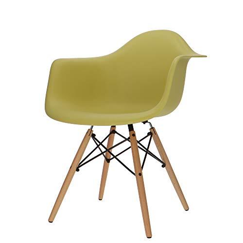 Popfurniture DAW Designer Schaukelstuhl mit Armlehne Olive | robust & leichter Aufbau | Ideale Esszimmerstühle, Stühle Esszimmer, Esstisch Chair, Küchenstühle, Essstühle, Esszimmerstuhl, Schalenstuhl