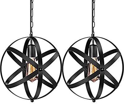 Industrial Pendant Light, 2 Pack Vintage Spherical Pendant Light Fixture with 39.3 Inches Adjustable Metal Chain