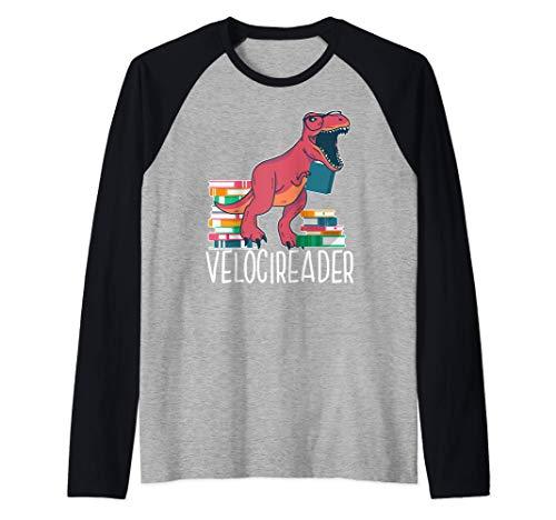 VELOCIREADER! velociraptor dinosaurio libro meme Camiseta Manga Raglan