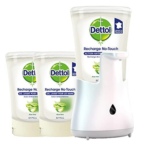 DETTOL No-Touch - Kit Aloe Vera Distributeur Savon Mains sans Contact et 2 Recharges 250ml (Aloe Vera)