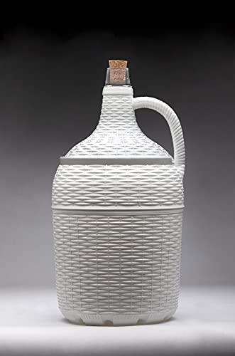 Garrafa o garrafón de 5 litros de cristal con asa, forrado de plástico blanco, incluye corcho