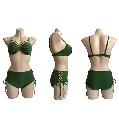 Traje de baño de Monokini Dividido, Damas Sexy Bikini, Cubierta de Cintura Alta Encaje Vientre Vientre Vientre Alta Elasticidad, Trajes de baño de Playa Army Green-L