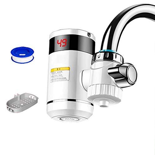 Grifo eléctrico de Agua Caliente, instalación Gratuita, calefacción instantánea, Grifo Mezclador para Fregadero de Agua con Pantalla Digital LED (se Puede aplicar al 90% del Grifo), purifica