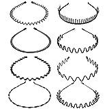 8個セット シンプル ウェーブ カチューシャ オフィス ヘアアクセサリー 前髪 固定 洗顔 波形 金属製 メイク ブラック メンズ レディース