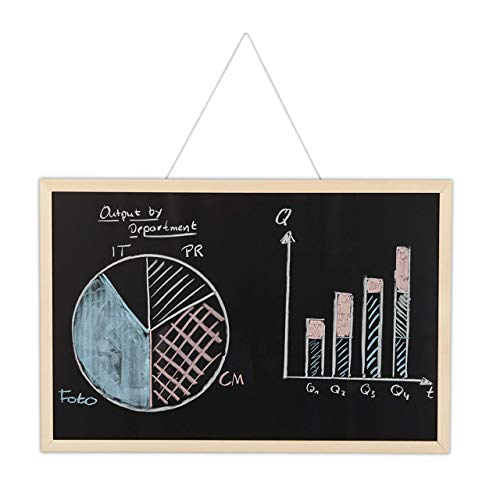 Relaxdays Kreidetafel mit Holzrahmen, abwischbare Tafel, Büro Memoboard, Wandtafel zum Aufhängen, 40 x 60 cm, schwarz, Kiefernholz, H x B: ca