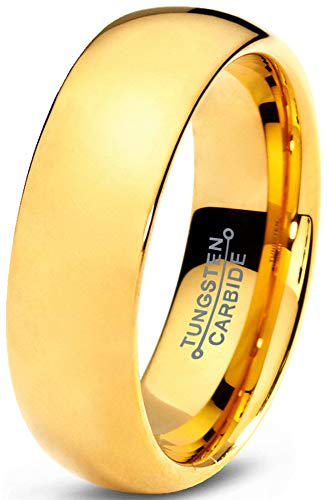 Charming Jewelers Tungsten Wedding Band Ring 7mm Men Women Comfort Fit 18k Yellow Gold Dome Polished Size 8