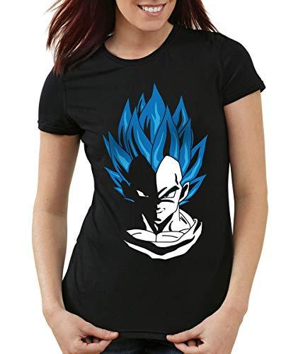 style3 Super Vegeta Blue God Mode T-Shirt Femme, Couleur:Noir, Taille:S