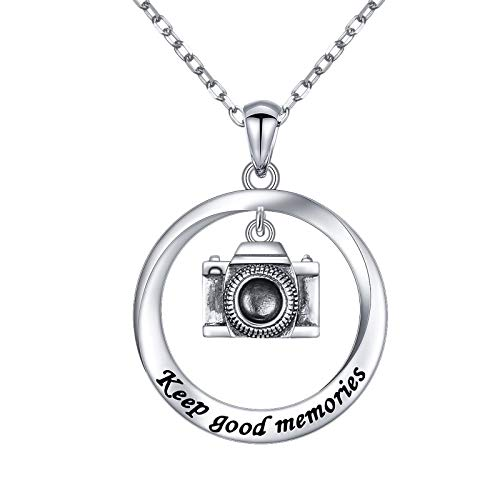 DAOCHONG 925 Sterling Silver Jewelry Oxidized Keep Good Memories Camera Pendant Necklace Photographer Gifts for Women Teen Girls Valentine's Day Gifts, 18 Inch + 2 Inch
