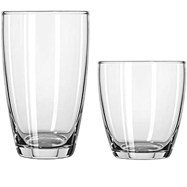 Circleware Smooth Huge Set of 12 Drinking Glasses, 6-16oz and 6-13oz Double Old Fashioned Whiskey Glass