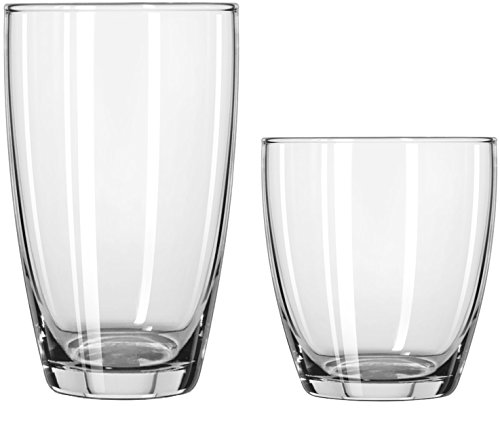 Circleware Smooth Huge Set of 12 Drinking Glasses & Whiskey Cups, Home & Kitchen Entertainment Glassware for Water, Beer, Juice, Ice Tea, Bar Beverage Gifts, 6-16oz & 6-13oz, Clear-Edition 12pc