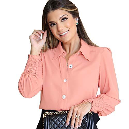 Herbst/Winter Mode einfarbig Revers Plissee Langarm Shirt Frauen