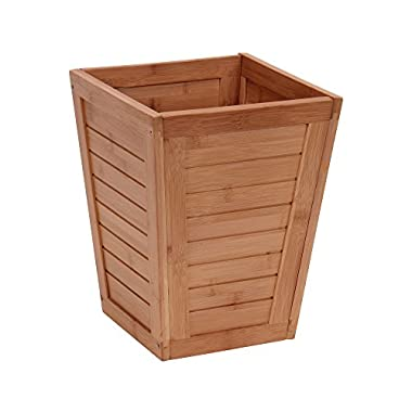Household Essentials Bamboo Slat Trash Can, Small