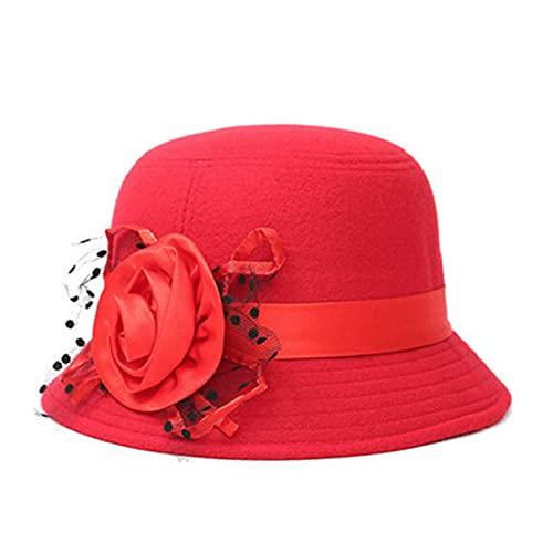 NYSJLONG Sombrero de Mujer Elegante Gorra de bombín Retro Sombrero de Mujer Lana Floral Primavera Mantener la Gorra de Cubo de Moda