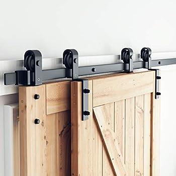 SMARTSTANDARD 6.6 Feet Bypass Sliding Barn Door Hardware Kit - Single Track Bypass for Double Wooden Doors - Smoothly & Quietly - Easy to Install - Fit 40   Wide Door Panel  J Shape Hanger