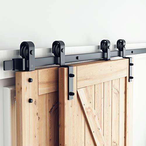 SMARTSTANDARD 6.6ft Bypass Sliding Barn Door Hardware Kit - Upgraded One-Piece Flat Track for Double Wooden Doors - Smoothly &Quietly - Easy to Install -Fit 36'-40' Wide Door Panel(J Shape Hanger)