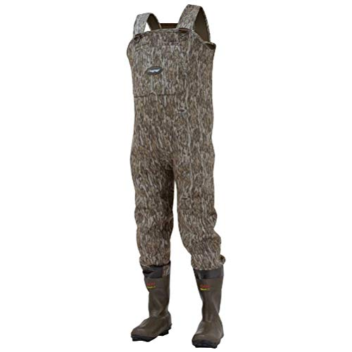 Frogg Toggs Amphib Neoprene Bootfoot Camo Chest Wader, Cleated Outsole, Mossy Oak Bottomlands, Size 11