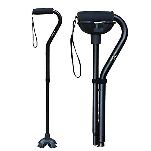 KINGGEAR Adjustable Cane for Men & Women - Lightweight & Sturdy Offset Walking Stick - Mobility Aid for Elderly, Seniors & Handicap (Black)