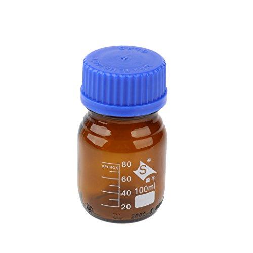 Amuzocity Glas Reagenzflasche Labor Probeflasche mit Verschluß, 100ml, 250ml, 500ml oder 1000ml zur Auswahl - 100ml