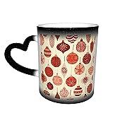 Taza de café de cerámica que cambia el calor, adornos navideños vintage rojo y beige, taza de té mágica sensible para café, té, leche o cacao para hombres y mujeres