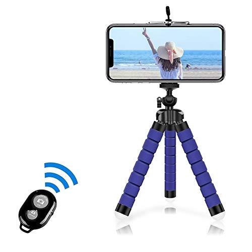 Alfort Mini Trípode, Trípode Móvil Flexible 360°Rotación Teléfonos de Soporte con Control Remoto Portátil Trípode para iPhone/Galaxy/Honor/Xperia/Redmi y Otros iOS/Android (5.5)