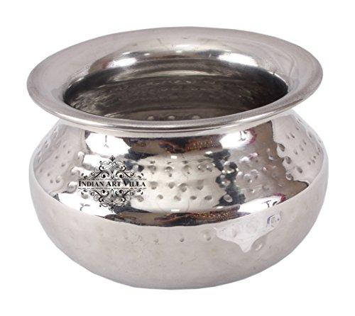 Indianartvilla à servir en acier martelé Punjabi Pince de bol |400 Ml| pour servir plats Légumes Maison Restaurant, Acier inoxydable, Silver, 13.5