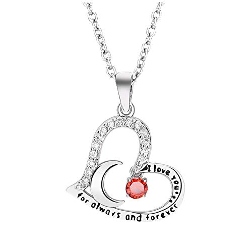 Birthstone Small Pendant Heart Necklace Sweet Accessories Personality Necklace,Personalised Necklaces for Women Fashion Jewelry,Charming Valentines Day Gift(One Size,Red)
