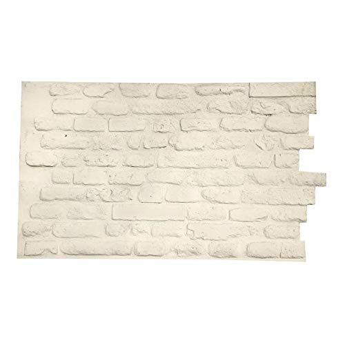 3D Wall Panels for Interior and Exterior Wall Decoration Brick Design Pack of 4 Tiles (Compositive) (Old Brick, White Matt)