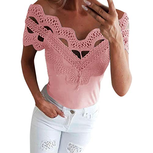 Sunhusing Women's Solid Color Openwork Lace Stitching Sexy V-Neck Slim Vest Summer Casual T-Shirt Tops Pink