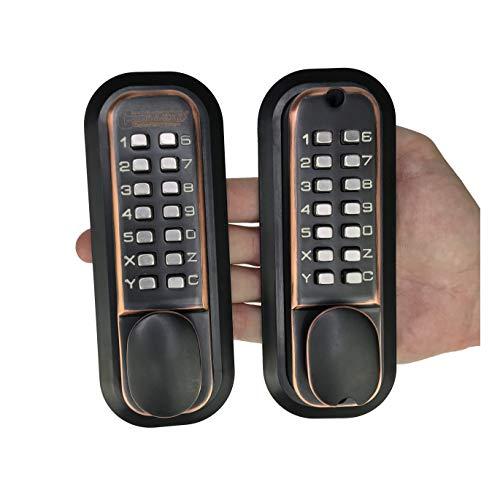 All-Weather Double Keypad Mechanical Keyless Latch Door Lock (Oil Rubbed Bronze)