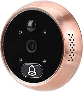 Digital Timbre de Puerta, Detector de Movimiento Inteligente de 160 ° HD de 4,3 Pulgadas, Visión Nocturna Súper+Timbre de Música Disponibles, Visor de Mirilla Fotoeléctrico para el Hogar(Oro)