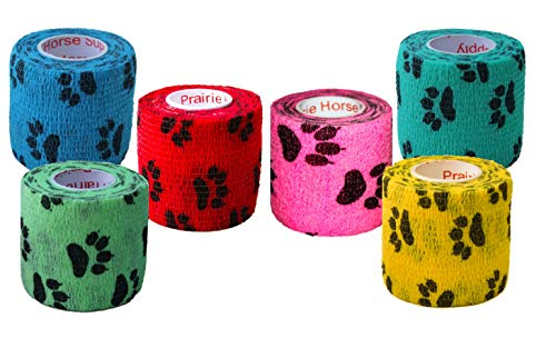 Prairie Horse Supply 2 Inch Vet Wrap Tape Bulk (Assorted Paw Prints) (Pack of 6) Self Adhesive Adherent Adhering Flex Bandage Rap Grip Roll Dog Cat