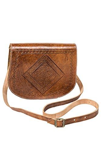 Marrakesch Orient & Mediterran Interior Marokkanische Leder Handtasche Fes - Braun