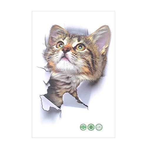 Pegatinas De Pared De Bricolaje Vinilo 3D Gatito Gato Dormitorio Calcomanía Nevera Hogar Mural Arte Decoración (Estilo 2)