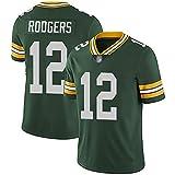 Maglia da rugby Packers 12 Rodgers, abito da football americano da uomo sportivo da uomo Super Bowl-green-WomenM
