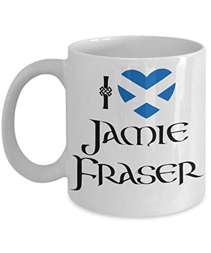 Lawenp I Love Jamie Fraser - Heart Scottish Flag - #JAMMF - Funny Outland White Ceramic Coffee Mug Tea Cup (11 oz.)