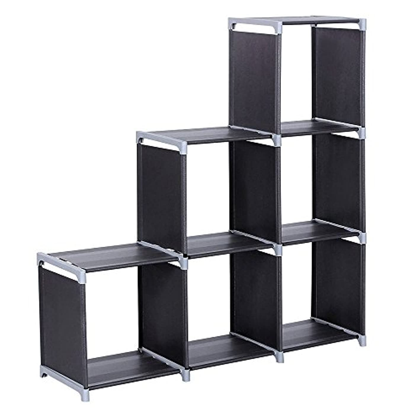 3 Tier Bookcase, 6-Cube Space-Saving Book Storage Cabinet Closet Organizer Shelf for Kids Bedroom Living Room Office (US Stock) (3 Tier 6 Cubes-Black) wyhjno9380035