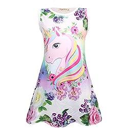 Rswsp Unicorn Printed Toddler Girls Rainbow Nightshirt Casual Nightie Princess Night Dresses
