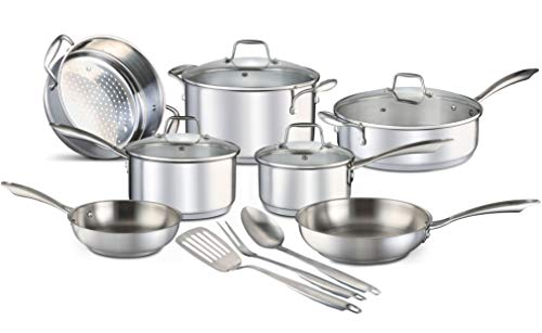 Chef's Star 14 Piece Stainless Steel Pots and Pans Set...
