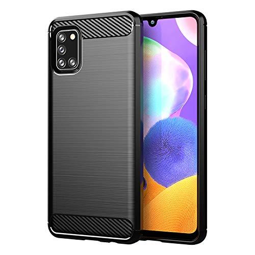 Funda para Samsung Galaxy A31, Carcasa Protectora Antigolpes Silicona Negra Diseño Fibra de Carbono Resistente Absorción de Choque [Compatible Carga Inalámbrica] (Samsung Galaxy A31, Negro)