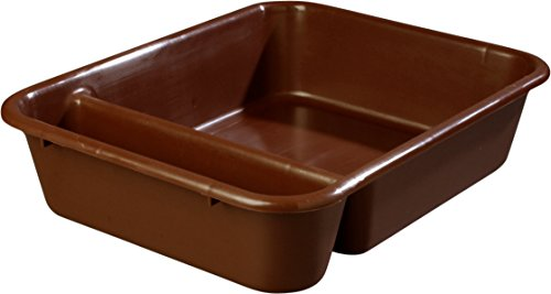 "Carlisle 038601 Save All Polyethylene Compartmented Bus Box, 22"" Length x 17"" Width x 5"" Height, Brown (Case of 12)"